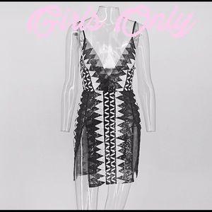 SEQUIN MINI DRESS BLACK/WHITE